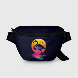 Поясная сумка Фламинго – дитя заката цвета 3D — фото 1