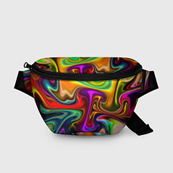 Поясная сумка Неоновые разводы цвета 3D — фото 1