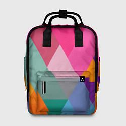 Рюкзак женский Разноцветные полигоны цвета 3D — фото 1