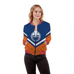 Бомбер женский NHL: Edmonton Oilers цвета 3D-красный — фото 2