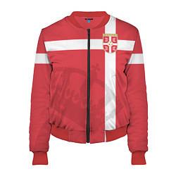 Бомбер женский Сборная Сербии цвета 3D-красный — фото 1