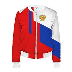 Бомбер женский Russia: Geometry Tricolor цвета 3D-белый — фото 1