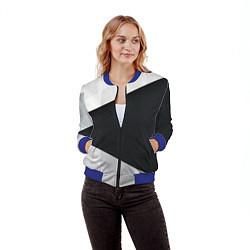 Бомбер женский Чёрно-белый цвета 3D-синий — фото 2