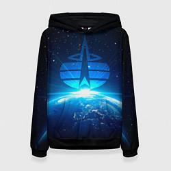 Толстовка-худи женская Космические войска цвета 3D-черный — фото 1