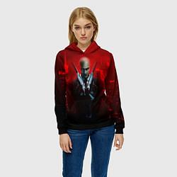 Толстовка-худи женская Hitman: Red Blood цвета 3D-черный — фото 2