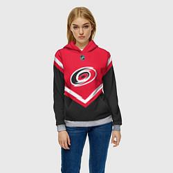 Толстовка-худи женская NHL: Carolina Hurricanes цвета 3D-меланж — фото 2