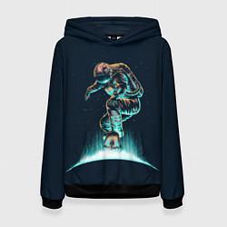 Толстовка-худи женская Планетарный скейтбординг цвета 3D-черный — фото 1