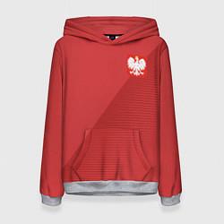 Толстовка-худи женская Poland Team: Away WC-2018 цвета 3D-меланж — фото 1
