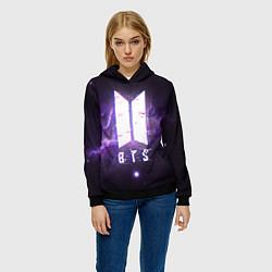 Толстовка-худи женская BTS: Violet Space цвета 3D-черный — фото 2