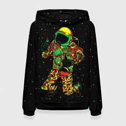 Толстовка-худи женская Космонавт с кальяном цвета 3D-черный — фото 1