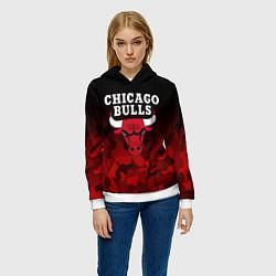 Толстовка-худи женская CHICAGO BULLS цвета 3D-белый — фото 2