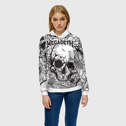 Толстовка-худи женская Megadeth цвета 3D-белый — фото 2