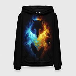 Толстовка-худи женская Волки в огне цвета 3D-черный — фото 1