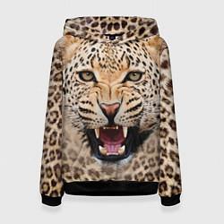 Толстовка-худи женская Взгляд леопарда цвета 3D-черный — фото 1