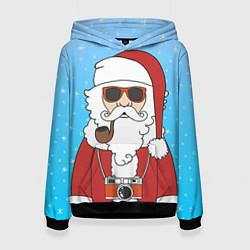 Толстовка-худи женская Дед мороз цвета 3D-черный — фото 1
