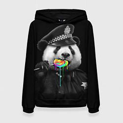 Толстовка-худи женская Панда с карамелью цвета 3D-черный — фото 1