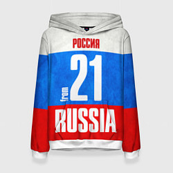 Толстовка-худи женская Russia: from 21 цвета 3D-белый — фото 1