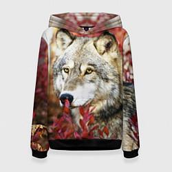 Толстовка-худи женская Волк в кустах цвета 3D-черный — фото 1