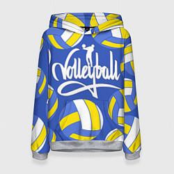 Толстовка-худи женская Волейбол 6 цвета 3D-меланж — фото 1