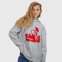 Толстовка оверсайз женская Велосипед цвета меланж — фото 2