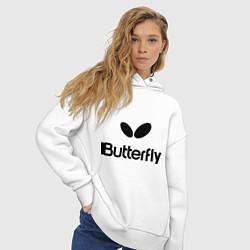 Толстовка оверсайз женская Butterfly Logo цвета белый — фото 2