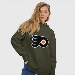 Толстовка оверсайз женская Philadelphia Flyers цвета хаки — фото 2