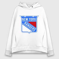 Толстовка оверсайз женская New York Rangers цвета белый — фото 1
