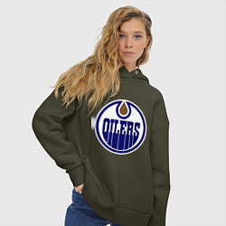 Толстовка оверсайз женская Edmonton Oilers цвета хаки — фото 2