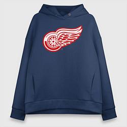 Толстовка оверсайз женская Detroit Red Wings цвета тёмно-синий — фото 1