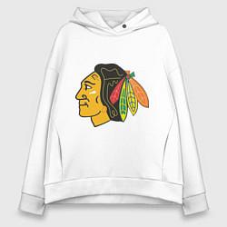 Толстовка оверсайз женская Chicago Blackhawks цвета белый — фото 1