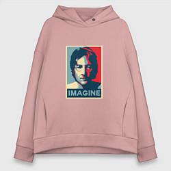 Толстовка оверсайз женская Lennon Imagine цвета пыльно-розовый — фото 1