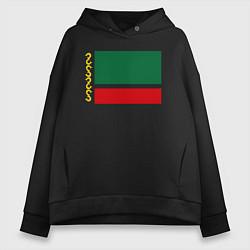Толстовка оверсайз женская Чечня: флаг цвета черный — фото 1