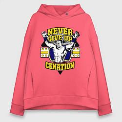 Толстовка оверсайз женская Never Give Up: Cenation цвета коралловый — фото 1