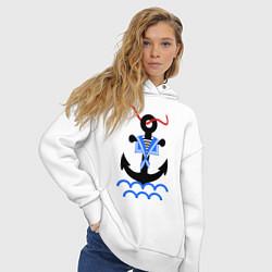 Толстовка оверсайз женская Морской якорь цвета белый — фото 2
