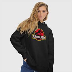 Толстовка оверсайз женская Jurassic Park цвета черный — фото 2