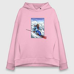 Толстовка оверсайз женская Лыжный Спорт цвета светло-розовый — фото 1