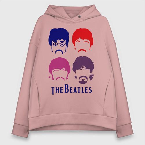 Женское худи оверсайз The Beatles faces / Пыльно-розовый – фото 1