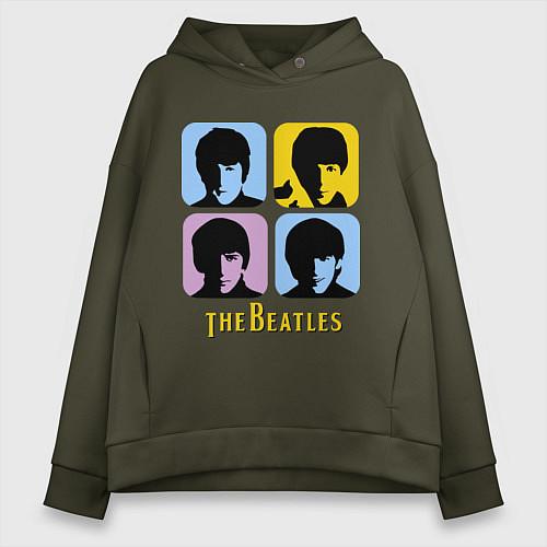 Женское худи оверсайз The Beatles: pop-art / Хаки – фото 1