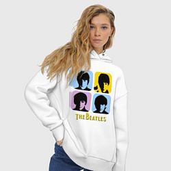 Толстовка оверсайз женская The Beatles: pop-art цвета белый — фото 2