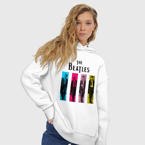 Женское худи оверсайз Walking Beatles / Белый – фото 3