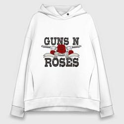 Толстовка оверсайз женская Guns n Roses: rock'n'roll цвета белый — фото 1