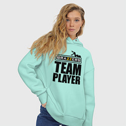 Толстовка оверсайз женская Brazzers Team Player цвета мятный — фото 2