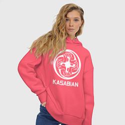 Толстовка оверсайз женская Kasabian: Symbol цвета коралловый — фото 2