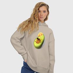Толстовка оверсайз женская Авокадо цвета миндальный — фото 2
