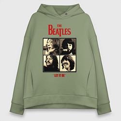 Толстовка оверсайз женская The Beatles LET IT BE цвета авокадо — фото 1