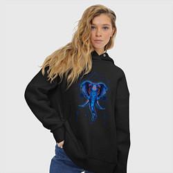 Толстовка оверсайз женская Магические знаки Слон цвета черный — фото 2