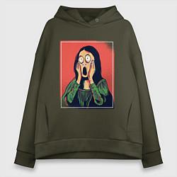 Толстовка оверсайз женская Мона Лиза Крик Мунка пародия цвета хаки — фото 1