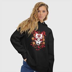 Толстовка оверсайз женская Fox Hunting цвета черный — фото 2
