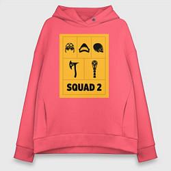 Толстовка оверсайз женская Squad 2 цвета коралловый — фото 1