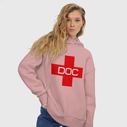 Толстовка оверсайз женская Доктор цвета пыльно-розовый — фото 2